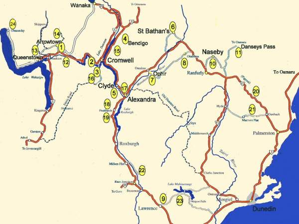 Map Of Cromwell New Zealand.New Zealand Gold Part 3 Travels In The Otago Goldfields