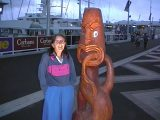 Maori carvings gracing the dockside on Auckland's waterfront